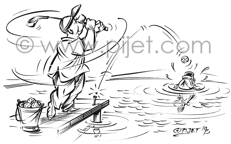Golfer Fishing